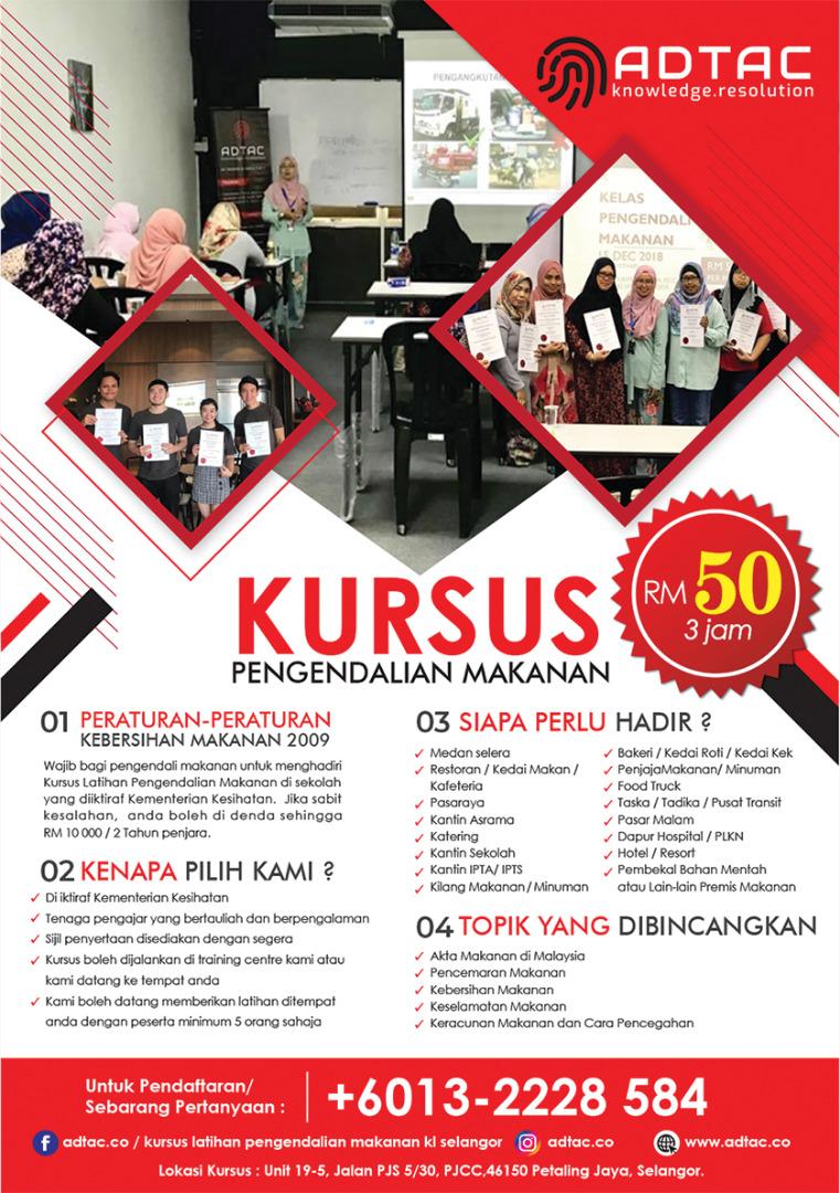 Kursus Latihan Pengendalian Makanan Kuala Lumpur Petaling Jaya Shah Alam Adtac Ad Training Consultancy